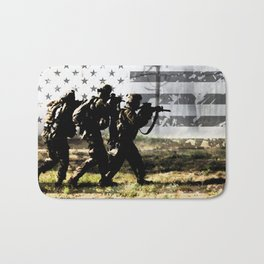 Soldiers and US Flag Bath Mat