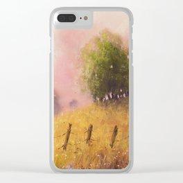 Quiet Pasture Soft Pastel Art Print Clear iPhone Case
