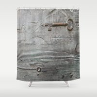 key Shower Curtains featuring key by Joan-Ma Espinosa