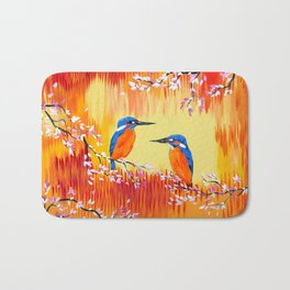 Kingfishers with red, orange and yellow Bath Mat
