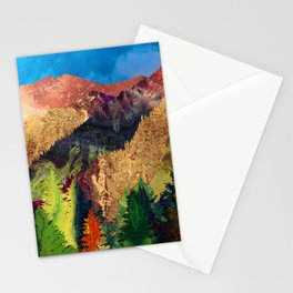 Abstract Mountain Landscape  and forest Digital Art Stationery Cards