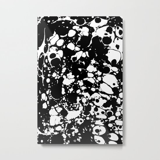 Black and white contrast ink spilled paint mess Metal Print