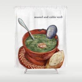 La Cuisine Fusion - Mussels with Caldo Verde Shower Curtain