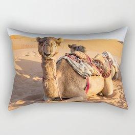 Close-up on Camel in Oman desert Rectangular Pillow