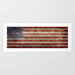 USA flag - Retro vintage Banner Art Print