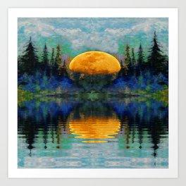 SURREAL RISING GOLDEN MOON BLUE REFLECTIONS Art Print