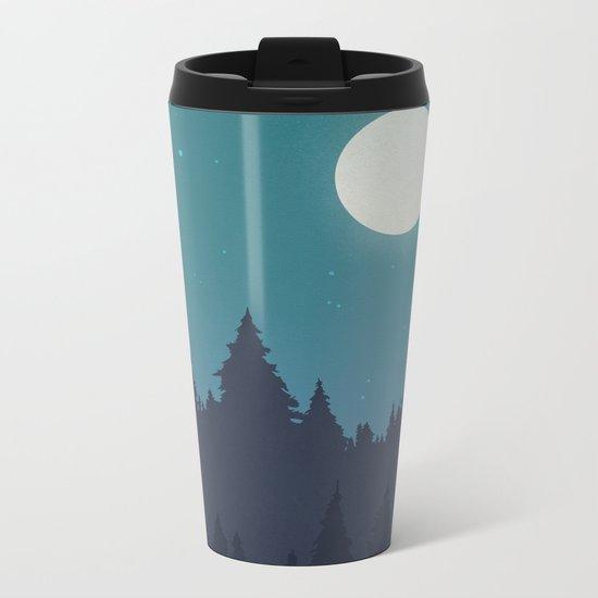 Tree Line - Turquoise Metal Travel Mug