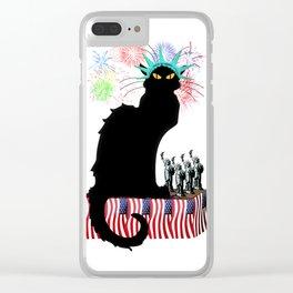 Lady Liberty - Patriotic Le Chat Noir Clear iPhone Case
