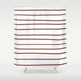 Inspired by Dunn Edwards Spice of Life DET439 Hand Drawn Horizontal Lines on White Shower Curtain
