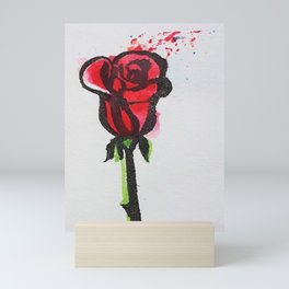 Ink Splatter Rose Mini Art Print