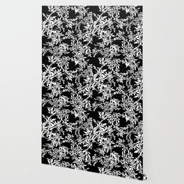 Toile White and Black Tangled Leaves Pattern Wallpaper