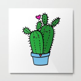 Kawaii Cacti Metal Print
