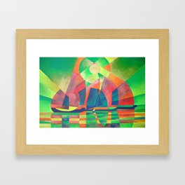 Sea of Green With Cubist Abstract Junks Framed Art Print