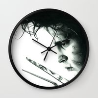 edward scissorhands Wall Clocks featuring Edward Scissorhands by Simona Borstnar