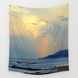 Storm Drops a Rainbow onto Village Wall Tapestry