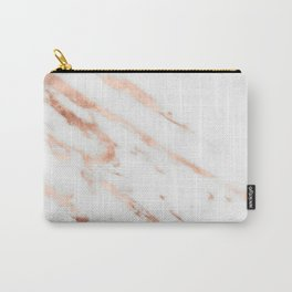 Rose Quartz Foil on Real White Marble Carry-All Pouch