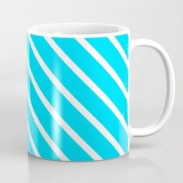 Neon Blue Diagonal Stripes Coffee Mug