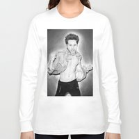 30 seconds to mars Long Sleeve T-shirts featuring Jared Leto (30 Seconds To Mars) Portrait. by Carl Merrell Art