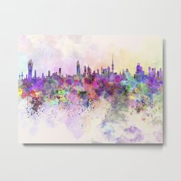 Kuwait City skyline in watercolor background Metal Print