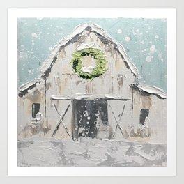 White Christmas Barn Art Print