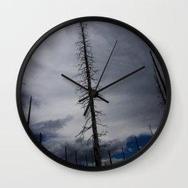 Burned Tree Against Sky Wall Clock