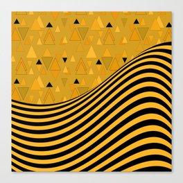 Yellow , black , striped Canvas Print