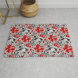 William Morris Iris and Lily, Black, White and Red Rug