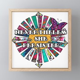 Nevertheless She Persisted Retro Fabric Collage Framed Mini Art Print