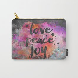Love, Peace and Joy Typography Carry-All Pouch