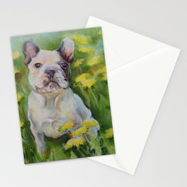 Frenchie Cute French Bulldog puppy portrait Bully Dog Pet in the meadow Yellow Flowers Painting Stationery Cards