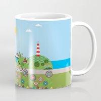 denmark Mugs featuring Landscape of Denmark by Design4u Studio