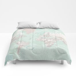 """Detailed world map with coral, seaweed and marine creatures, """"Lenore"""" Comforters"""