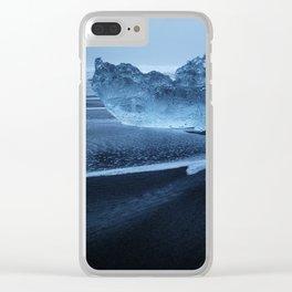 Sveitarfélagið Hornafjörðu,  Blue Ice at the Black Sand Beach, Glacier Lagoon, Iceland Clear iPhone Case