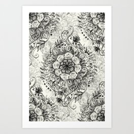 Messy Boho Floral in Charcoal and Cream  Art Print