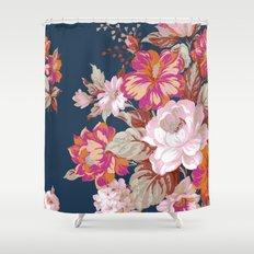 Vintage Floral on Blue Shower Curtain