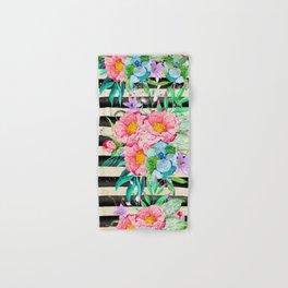 Modern stripes and tropical flowers hand paint Hand & Bath Towel