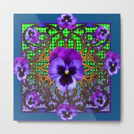 DECORATIVE PURPLE PANSIES TEAL ART Metal Print