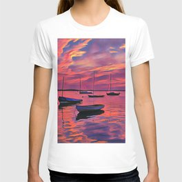 Sunset on the Mooring Field Boats T-shirt