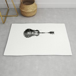 Acoustic Guitar Forest Nature Reflection Musician Rug