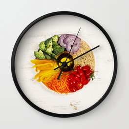 Vegetarian food bowl Wall Clock