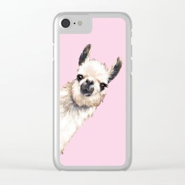 Sneaky Llama in Pink Clear iPhone Case