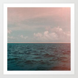 Turquoise Ocean Peach Sunset Art Print