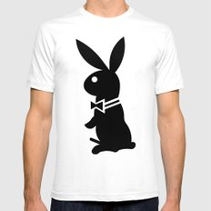 playboy horny rabbit  SMALL White Mens Fitted Tee