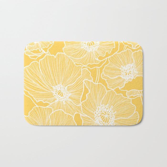 Sunshine Yellow Poppies Bath Mat