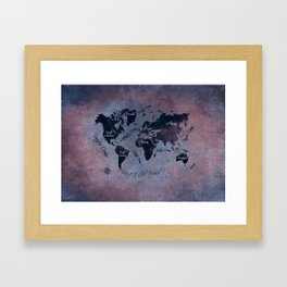 world map 141 red blue #worldmap #map Framed Art Print