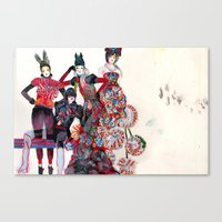 girls Canvas Prints featuring Girls by Felicia Atanasiu