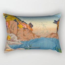 Asano Takeji Views of Wakayama Vintage Japanese Woodblock Print Landscape Asian Art Rectangular Pillow