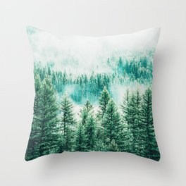 Forest + Fog #photography #nature Throw Pillow