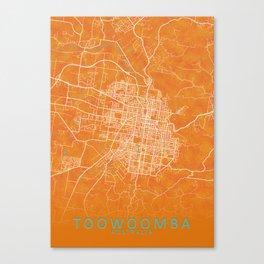 Toowoomba QLD, Australia, Gold, Blue, City, Map Canvas Print