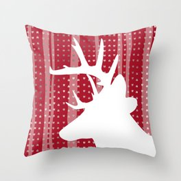 Eleghant Red Deer Holiday Design Throw Pillow